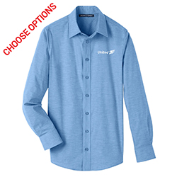 United Mens Stretch Pinpoint Chambray Shirt